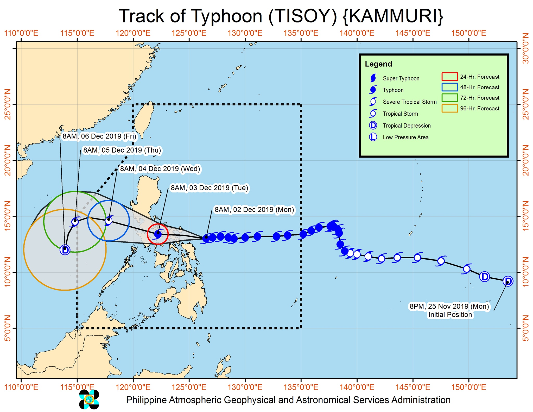 Forecast track of Typhoon Tisoy (Kammuri) as of December 2, 2019, 11 am. Image from PAGASA