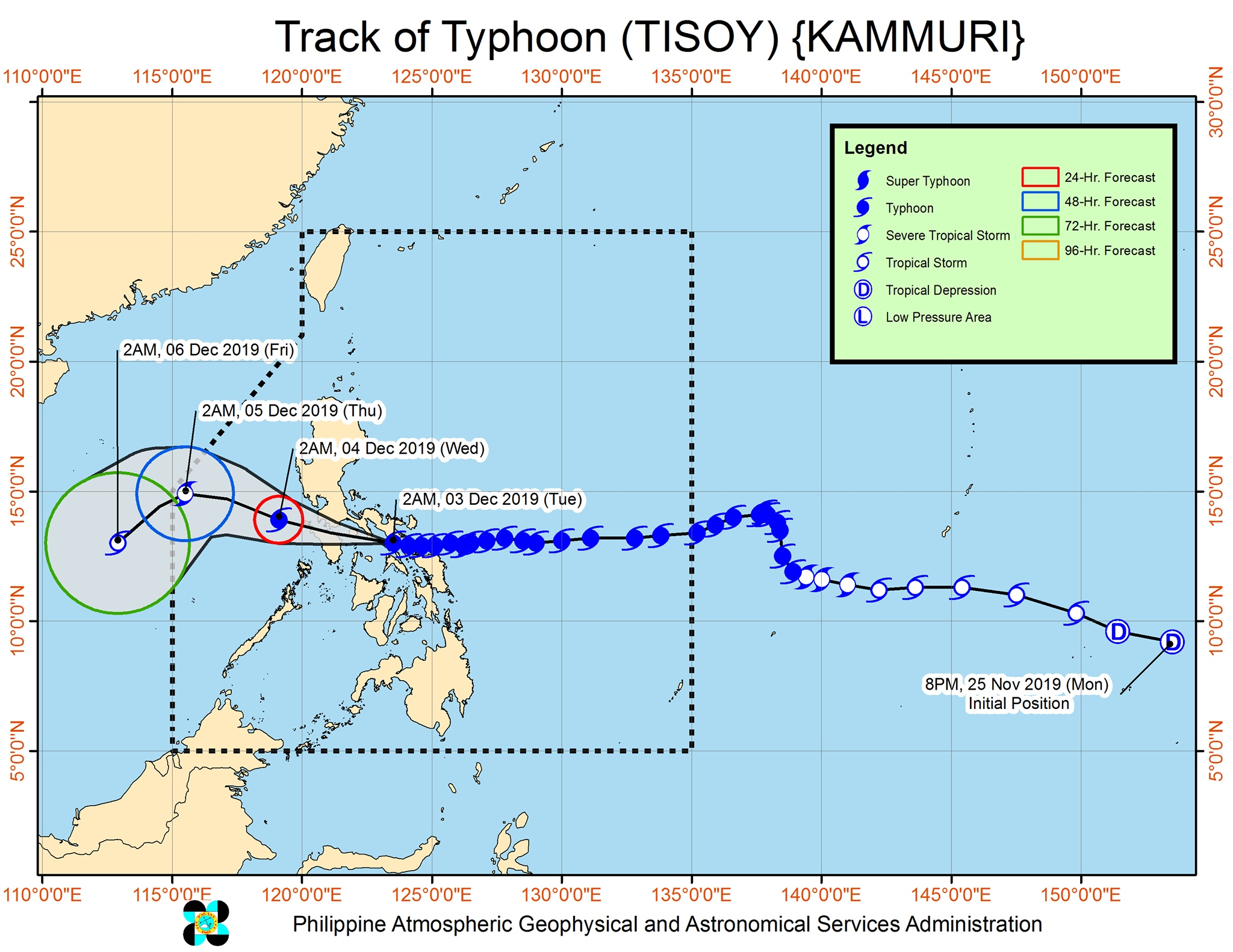Forecast track of Typhoon Tisoy (Kammuri) as of December 3, 2019, 5 am. Image from PAGASA