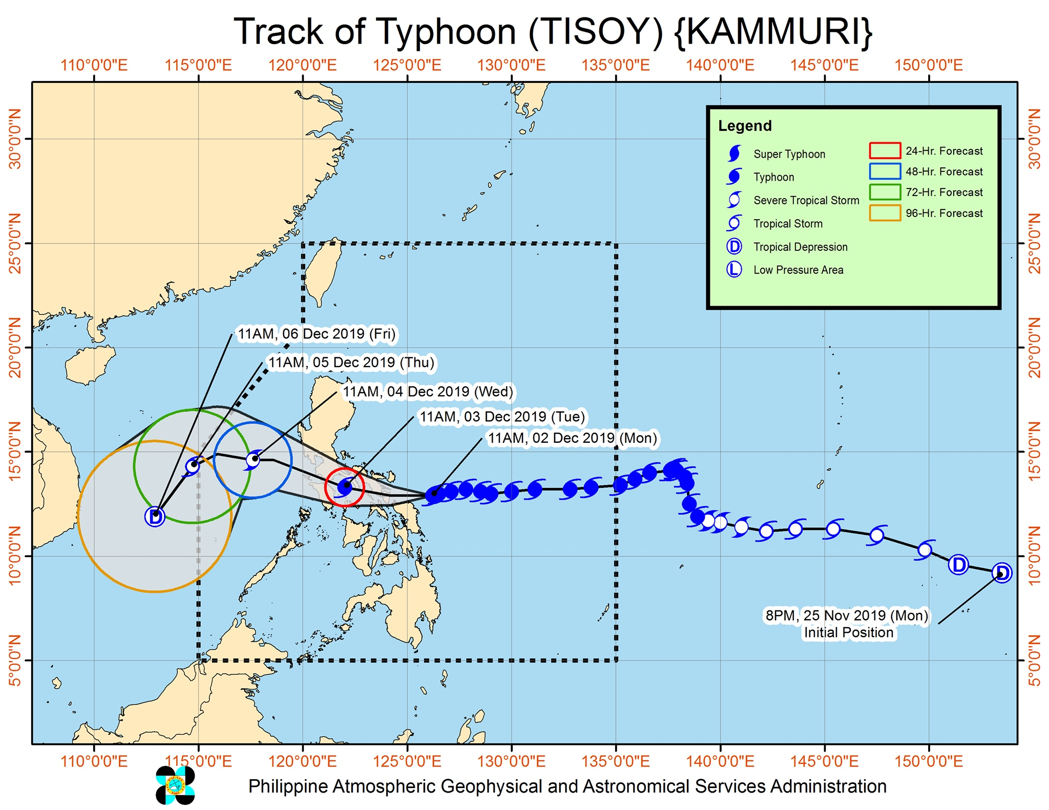 Forecast track of Typhoon Tisoy (Kammuri) as of December 2, 2019, 2 pm. Image from PAGASA