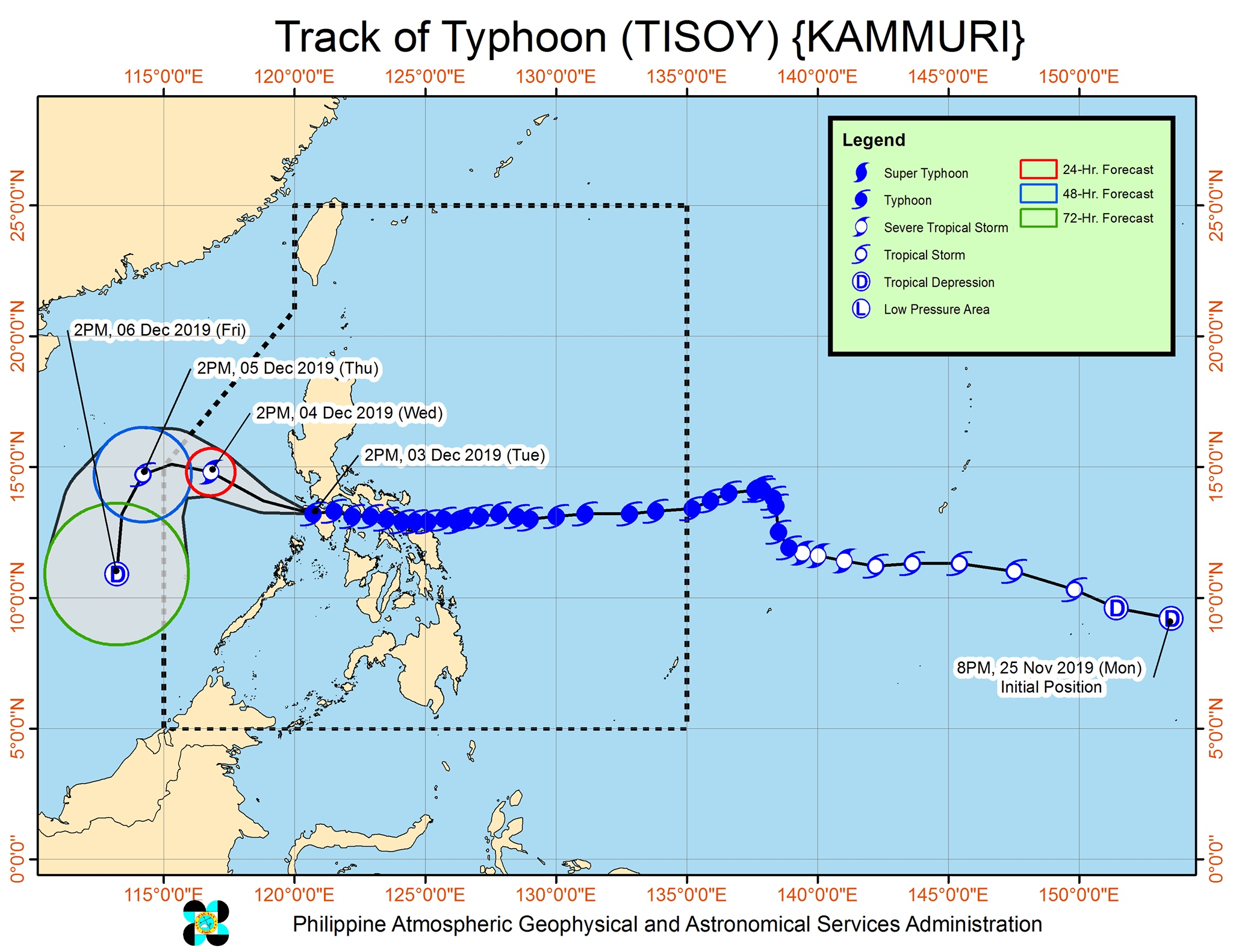 Forecast track of Typhoon Tisoy (Kammuri) as of December 3, 2019, 5 pm. Image from PAGASA