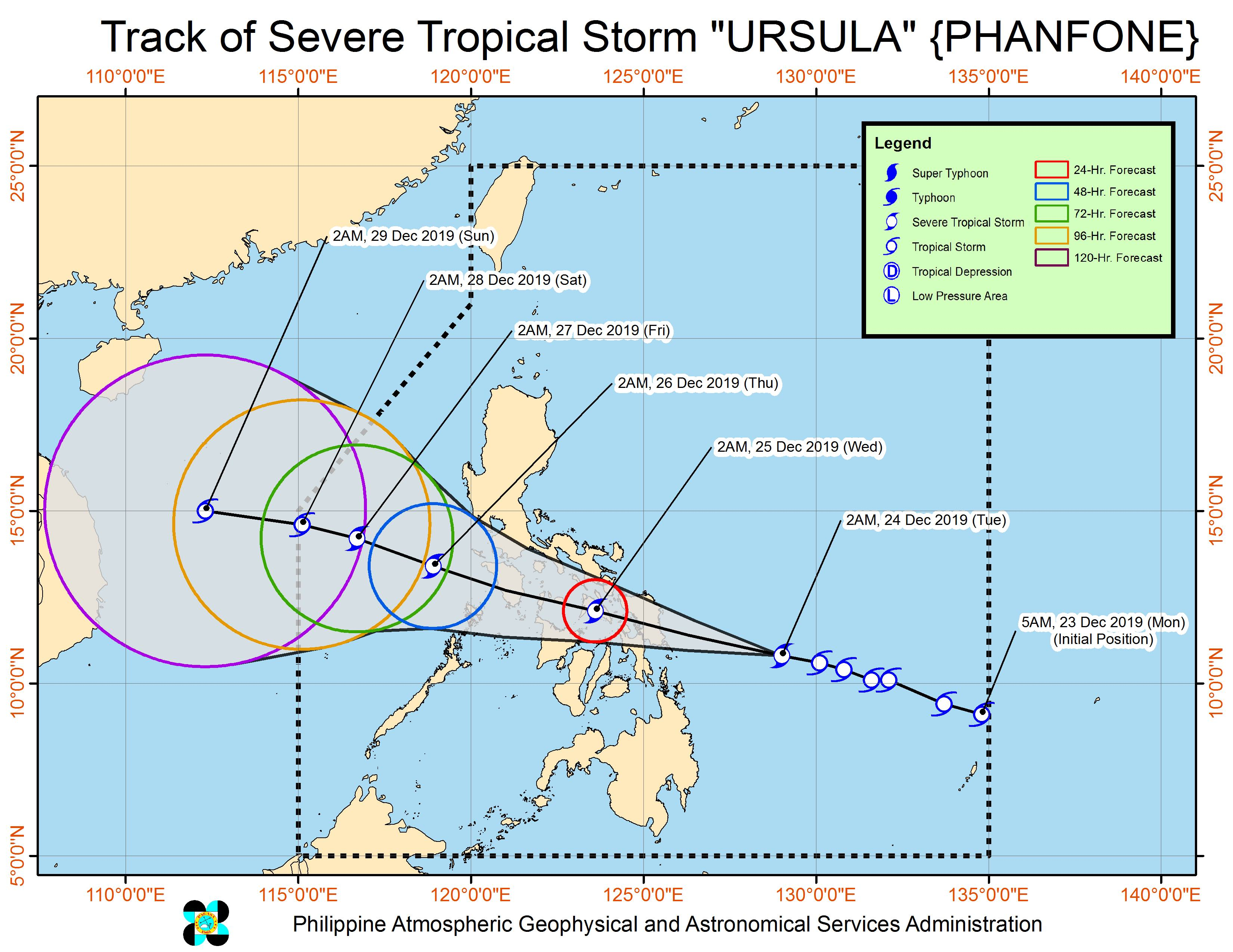 Forecast track of Severe Tropical Storm Ursula (Phanfone) as of December 24, 2019, 5 am. Image from PAGASA
