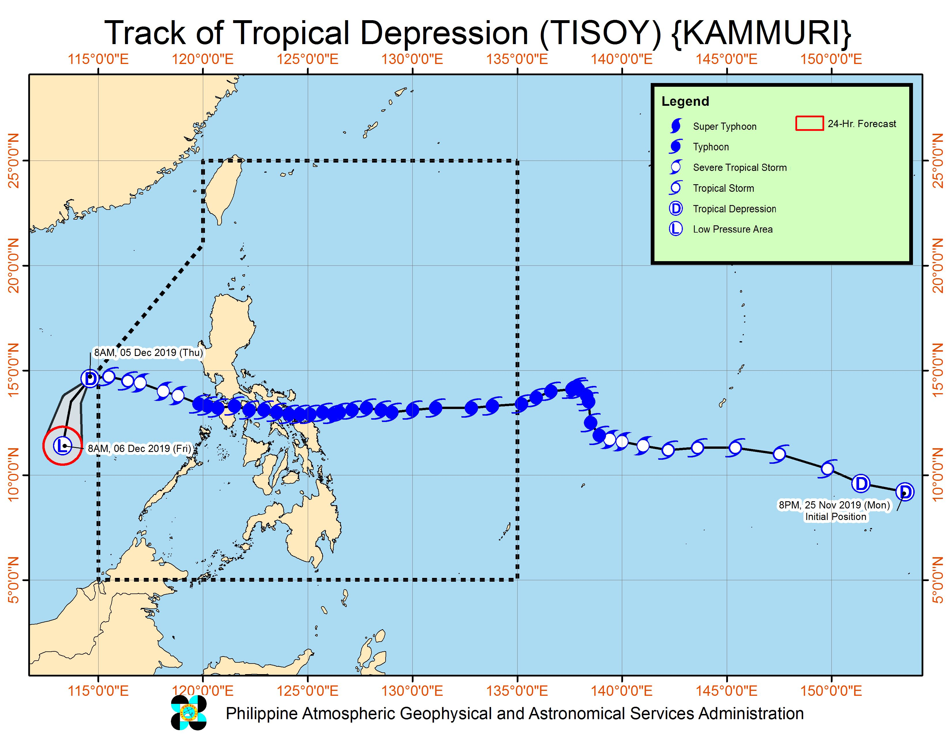 Forecast track of Tropical Depression Tisoy (Kammuri) as of December 5, 2019, 11 am. Image from PAGASA
