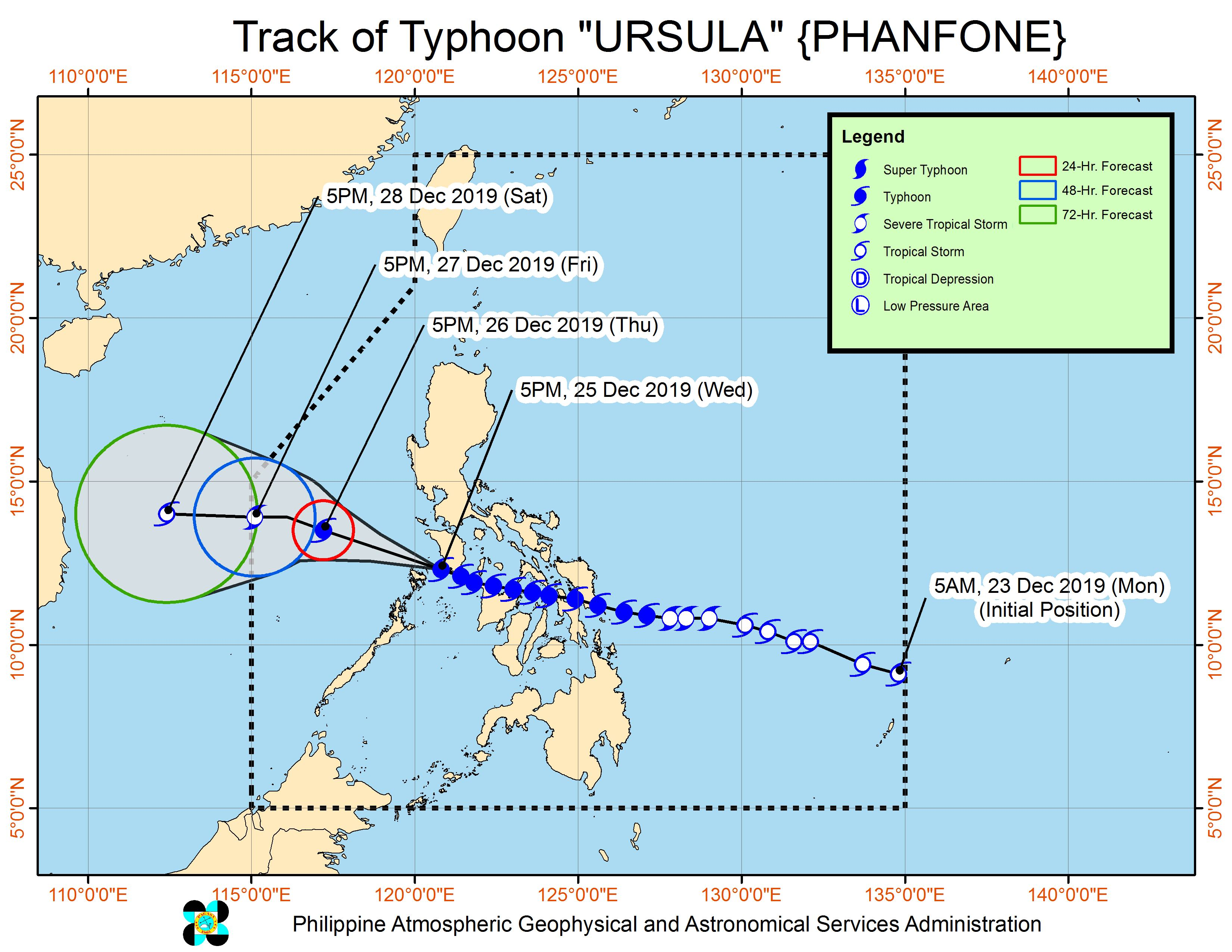 Forecast track of Typhoon Ursula (Phanfone) as of December 25, 2019, 8 pm. Image from PAGASA
