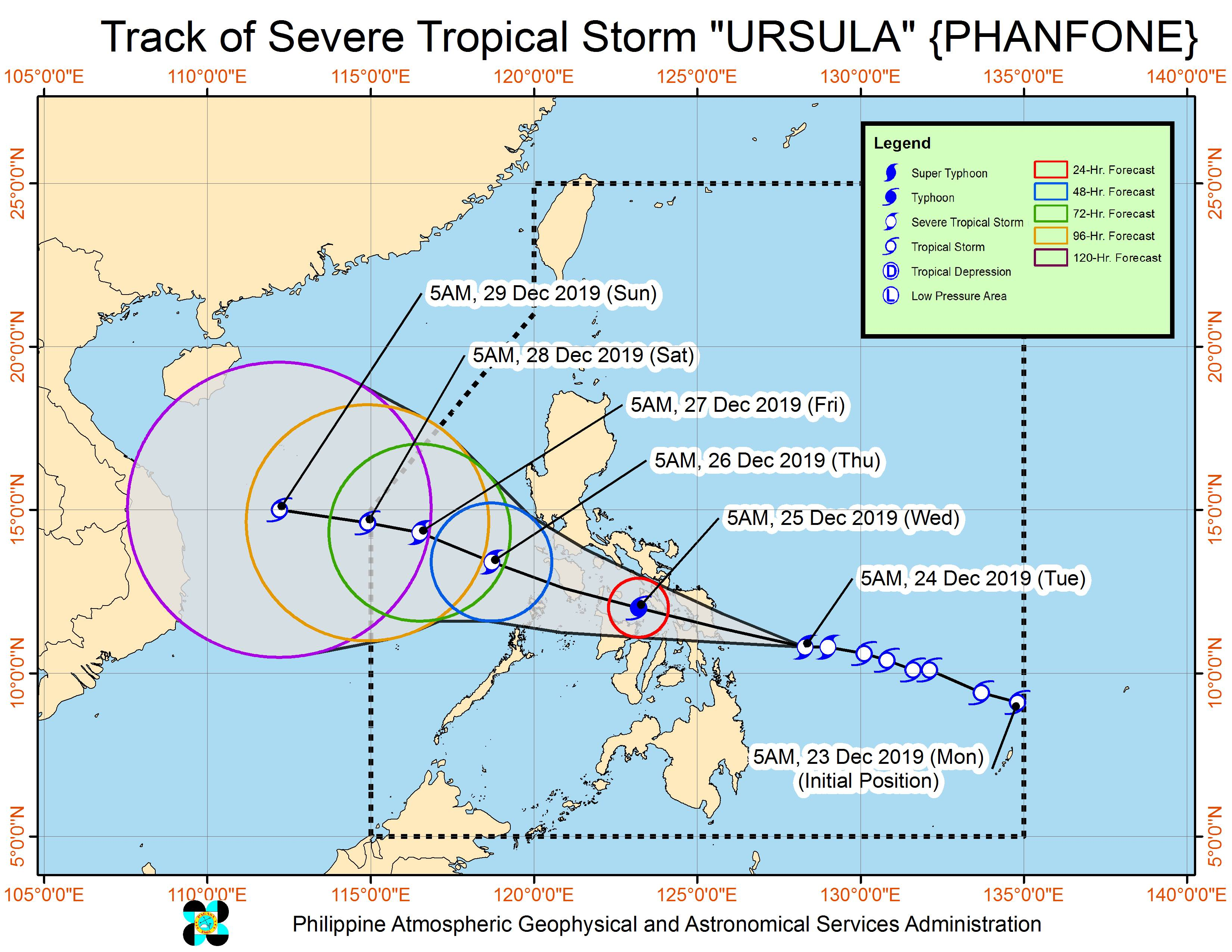 Forecast track of Severe Tropical Storm Ursula (Phanfone) as of December 24, 2019, 8 am. Image from PAGASA