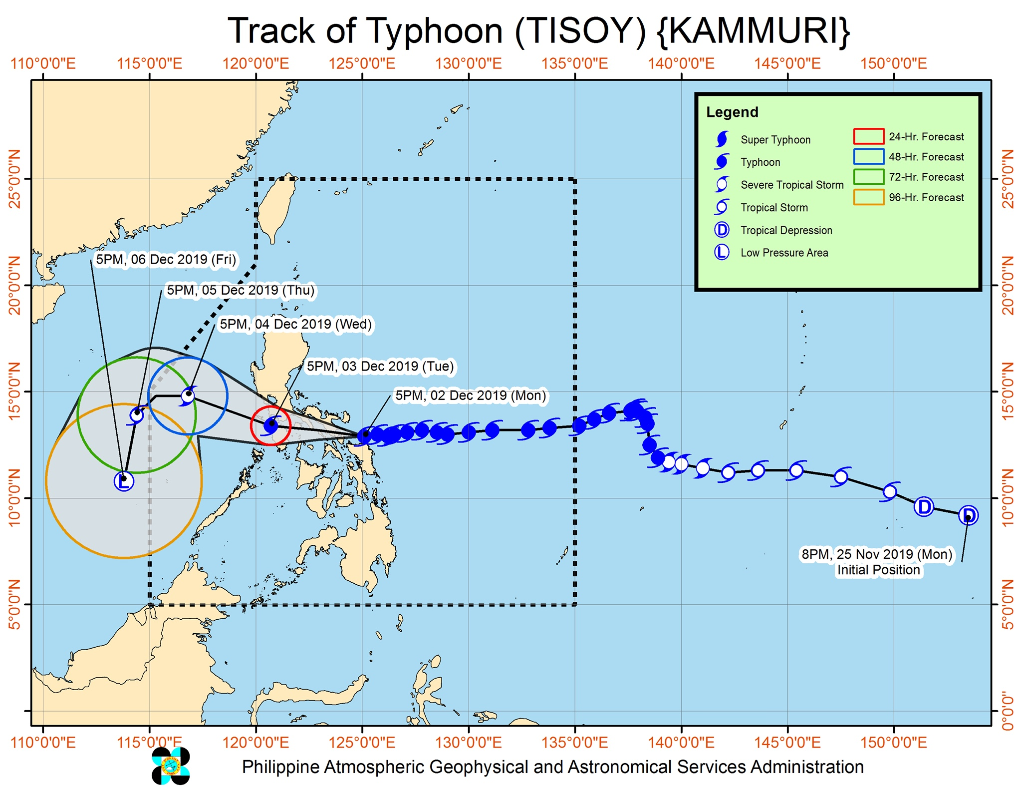 Forecast track of Typhoon Tisoy (Kammuri) as of December 2, 2019, 8 pm. Image from PAGASA
