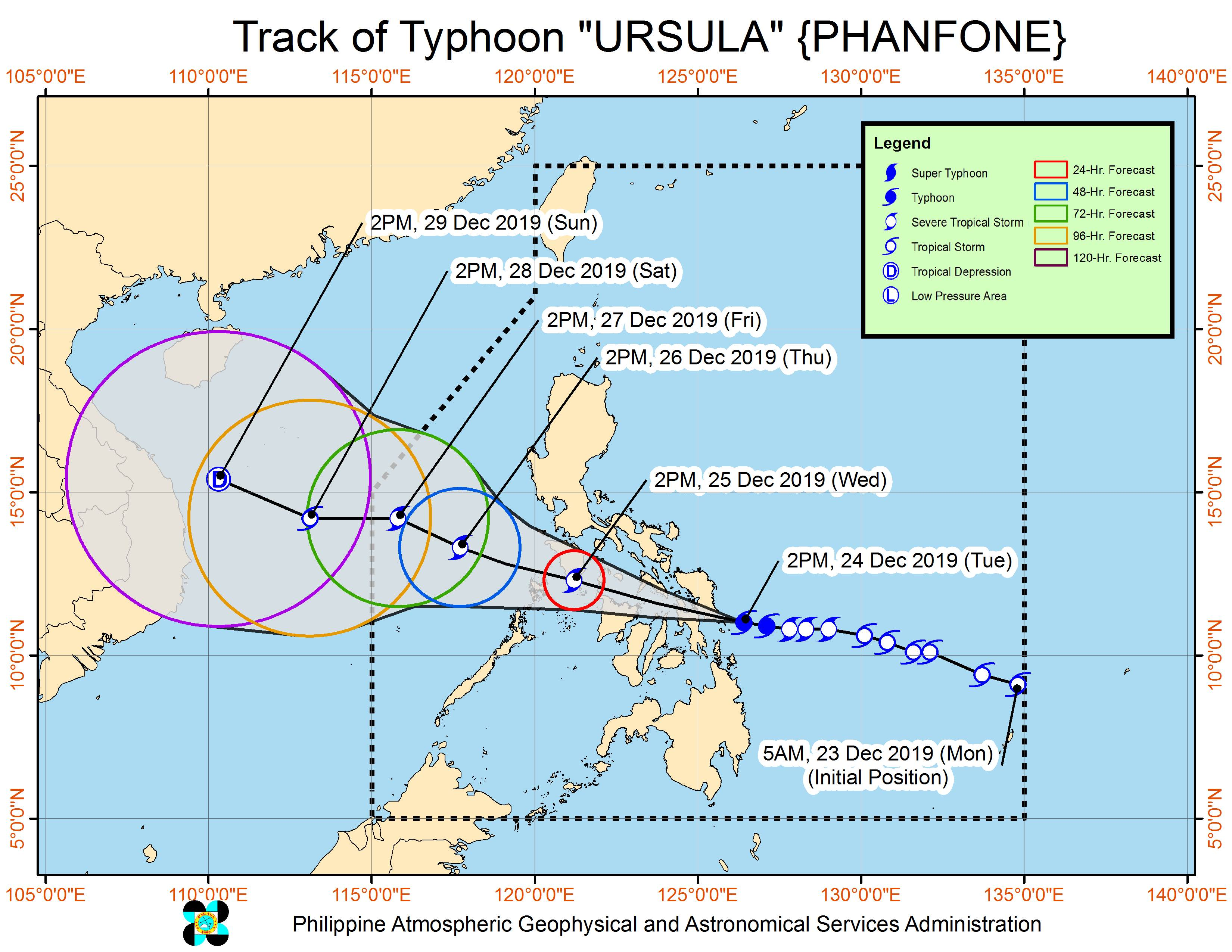 Forecast track of Typhoon Ursula (Phanfone) as of December 24, 2019, 5 pm. Image from PAGASA