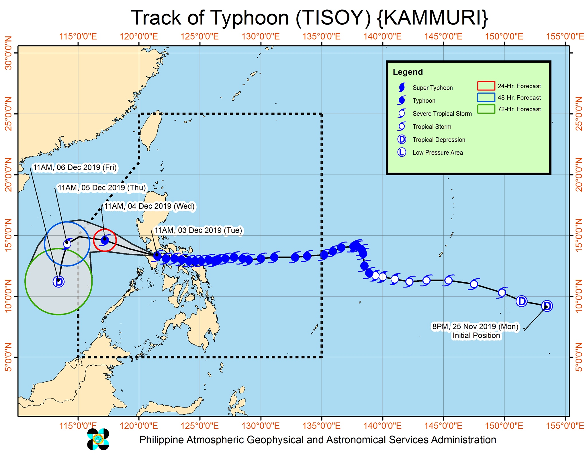 Forecast track of Typhoon Tisoy (Kammuri) as of December 3, 2019, 2 pm. Image from PAGASA