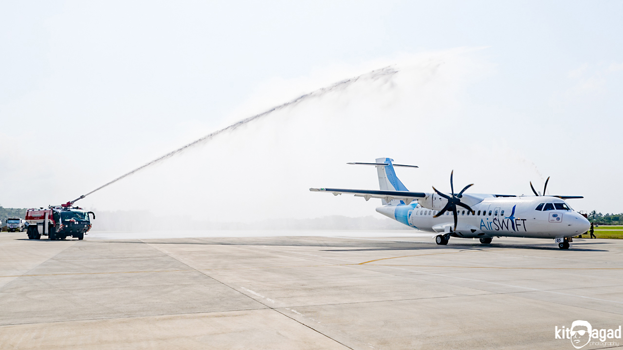 Water canon salute for AirSwift at Caticlan Airport. Photo by Kit Agad