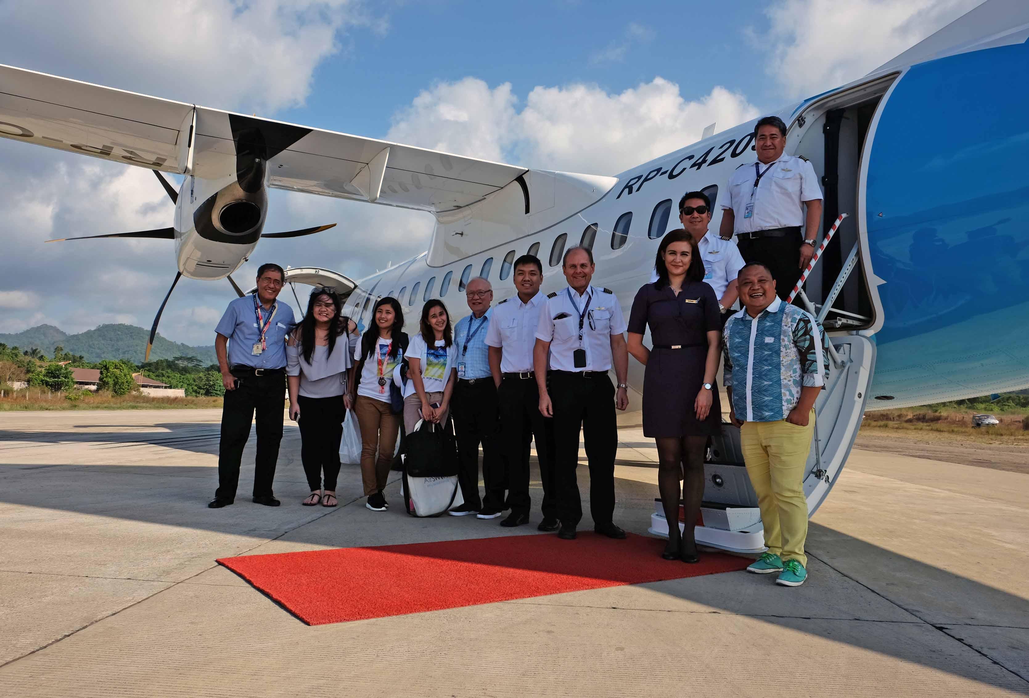 Inaugural passengers u0026 flight crew at Lio Airport, El Nido.