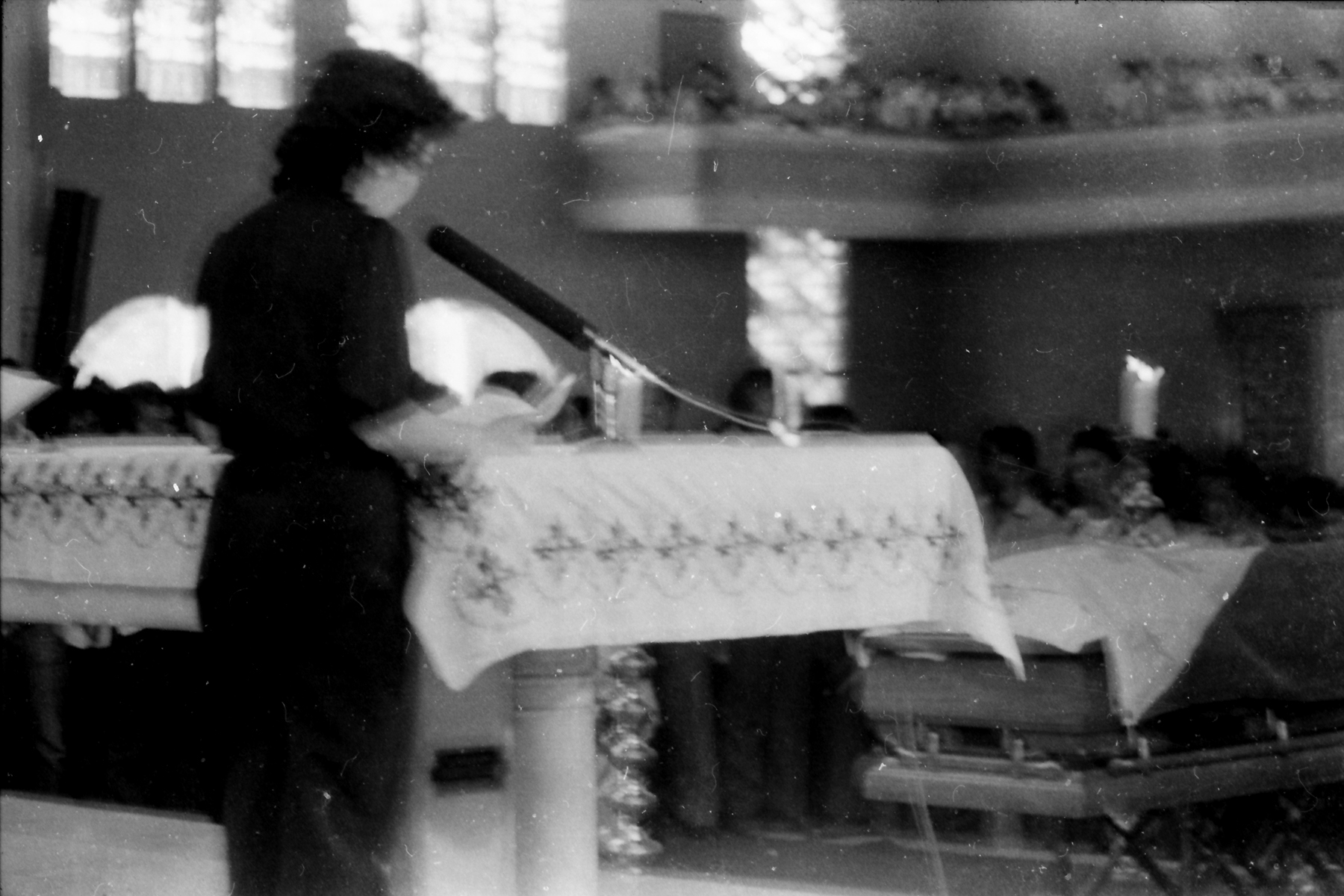 WOULD-BE PRESIDENT. Cory Aquino, then just a plain housewife, addresses the crowd at the wake of her husband, Ninoy in Sto Domingo church in Quezon City.
