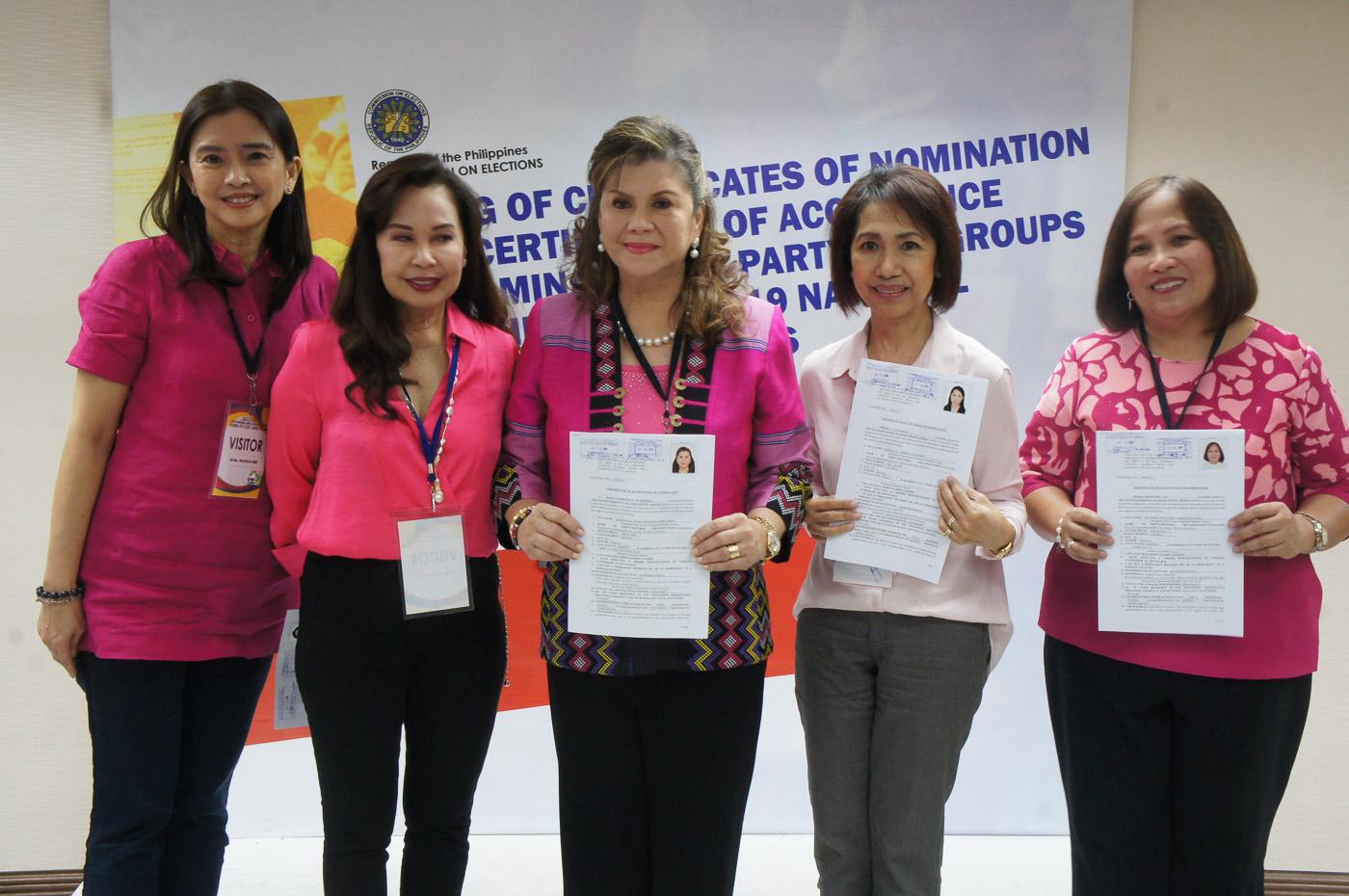 Inang Bayan Party list nominees led by Gina de Venecia. Photo by Ben Nabong/Rappler