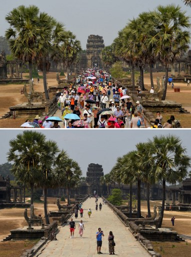 TOURISTS DOWN. This combination photo created on March 5, 2020 shows tourists visiting Angkor Wat temple in Siem Reap province on March 16, 2019 (top) and on March 5, 2020. File photo by Tang Chhin Sothy / AFP