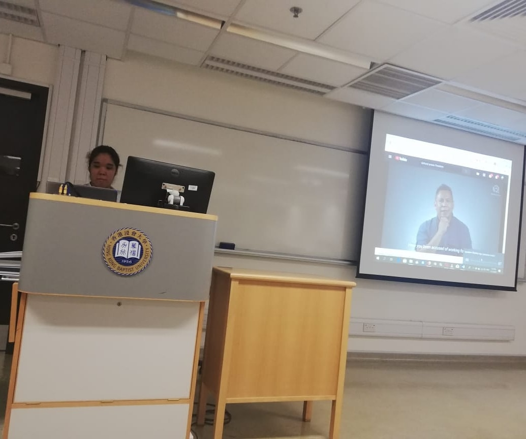 DEFEND PRESS FREEDOM. The author gives a view one of the 'Defend Press Freedom' videos during a class discussion.