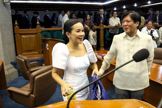 Senator Grace Poe and Bongbong Marcos. Photo by Mark Cristino/Rappler