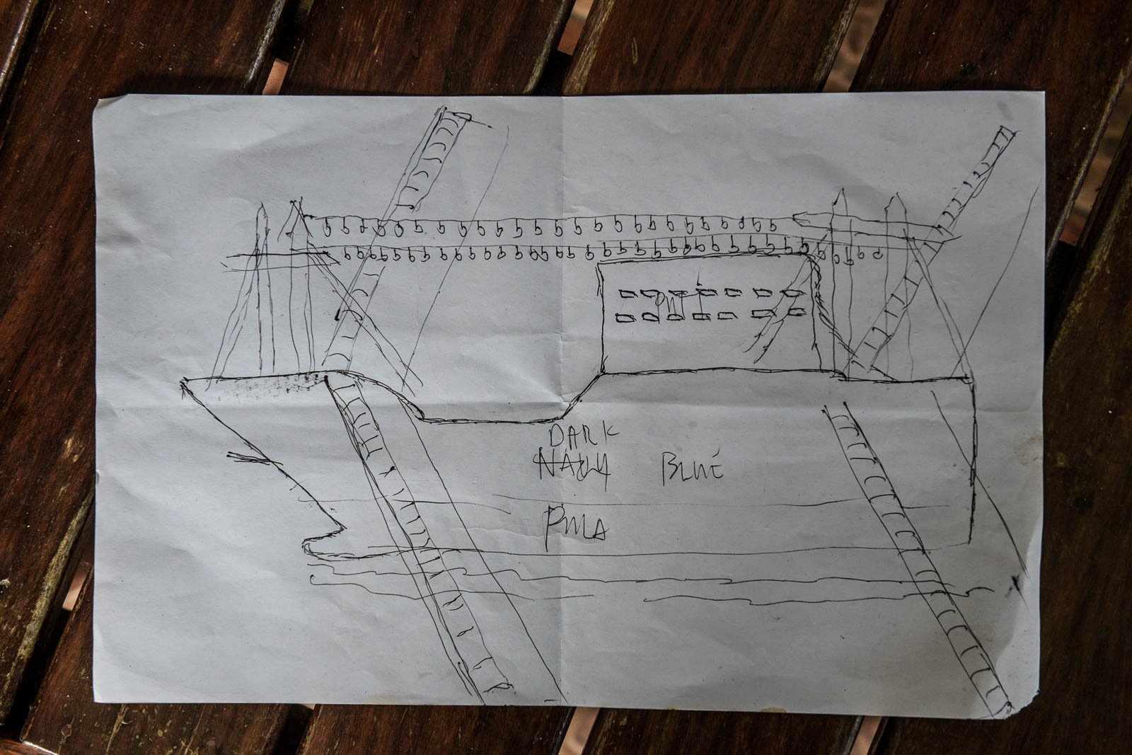 CHINESE SHP. This is a sketch of Chinese ship Yuemaobinyu 42212 that rammed Filipino fishing boat Gem-Ver. Photo by LeAnne Jazul/Rappler