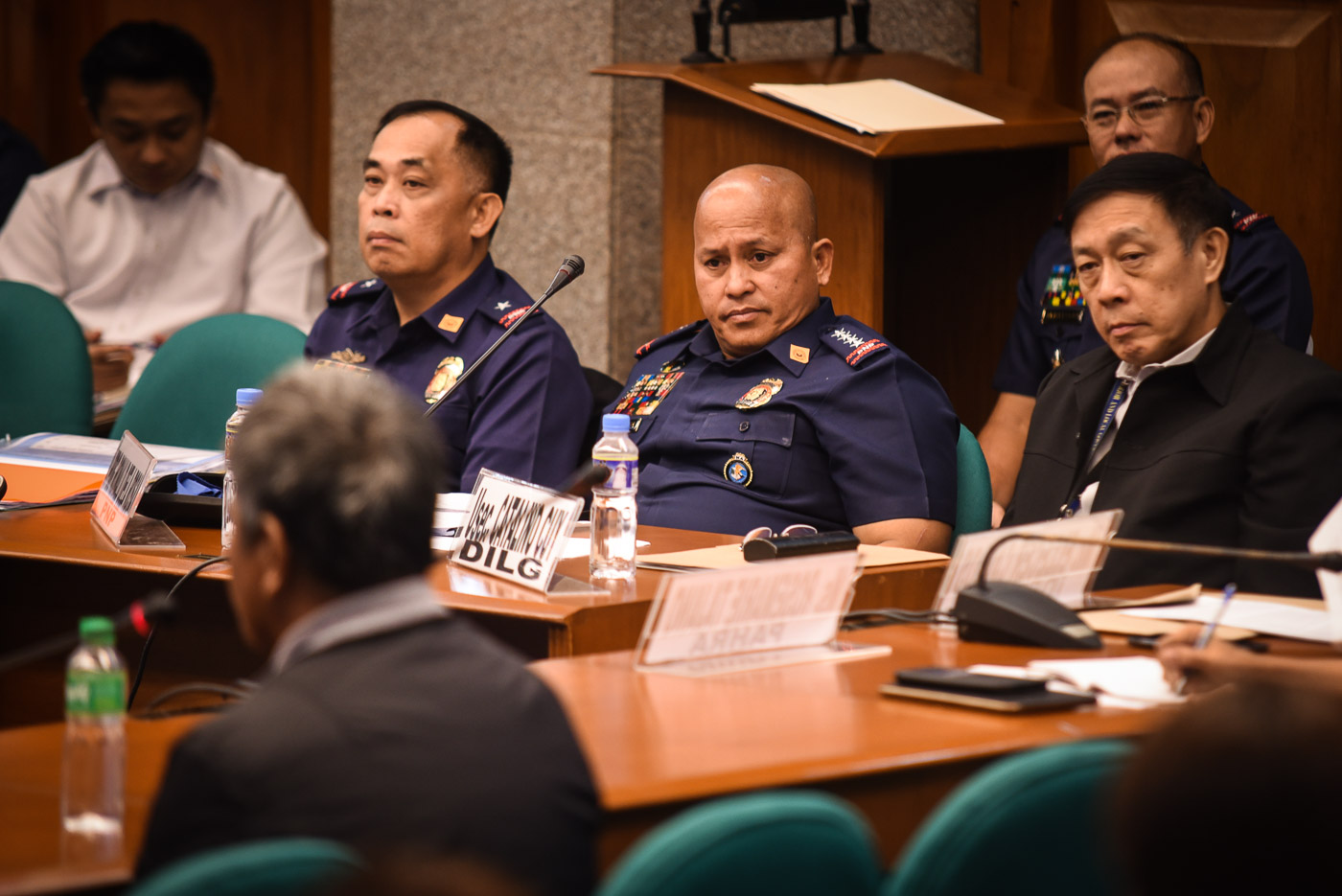 DEATH SQUADS? PNP chief Ronald dela Rosa looks on as Edgar Matobato recounts his supposed activities as a member of the so-called 'Davao Death Squad.' Photo by LeAnneJazul/Rappler
