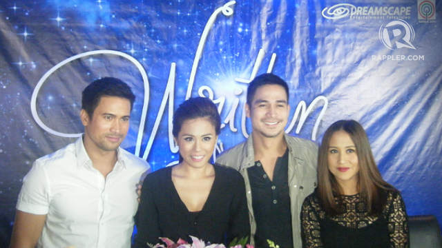 COLLEAGUES. Toni with Sam Milby, Piolo Pascual and Jolina Magdangal during the media announcement for the upcoming soap 'Written In Our Stars.' Photo by Alexa Villano/Rappler