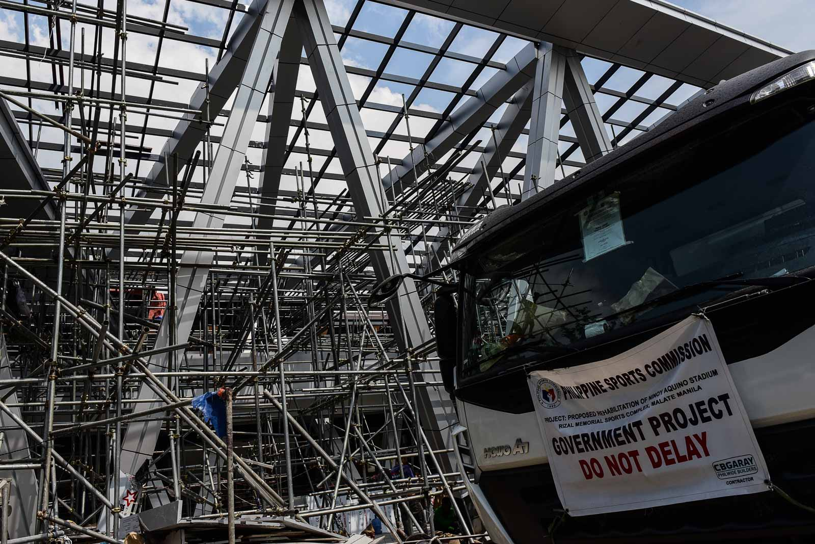 UNFINISHED. Steel scaffolding still protrude the Philsports construction site. Photo by LeAnne Jazul/Rappler