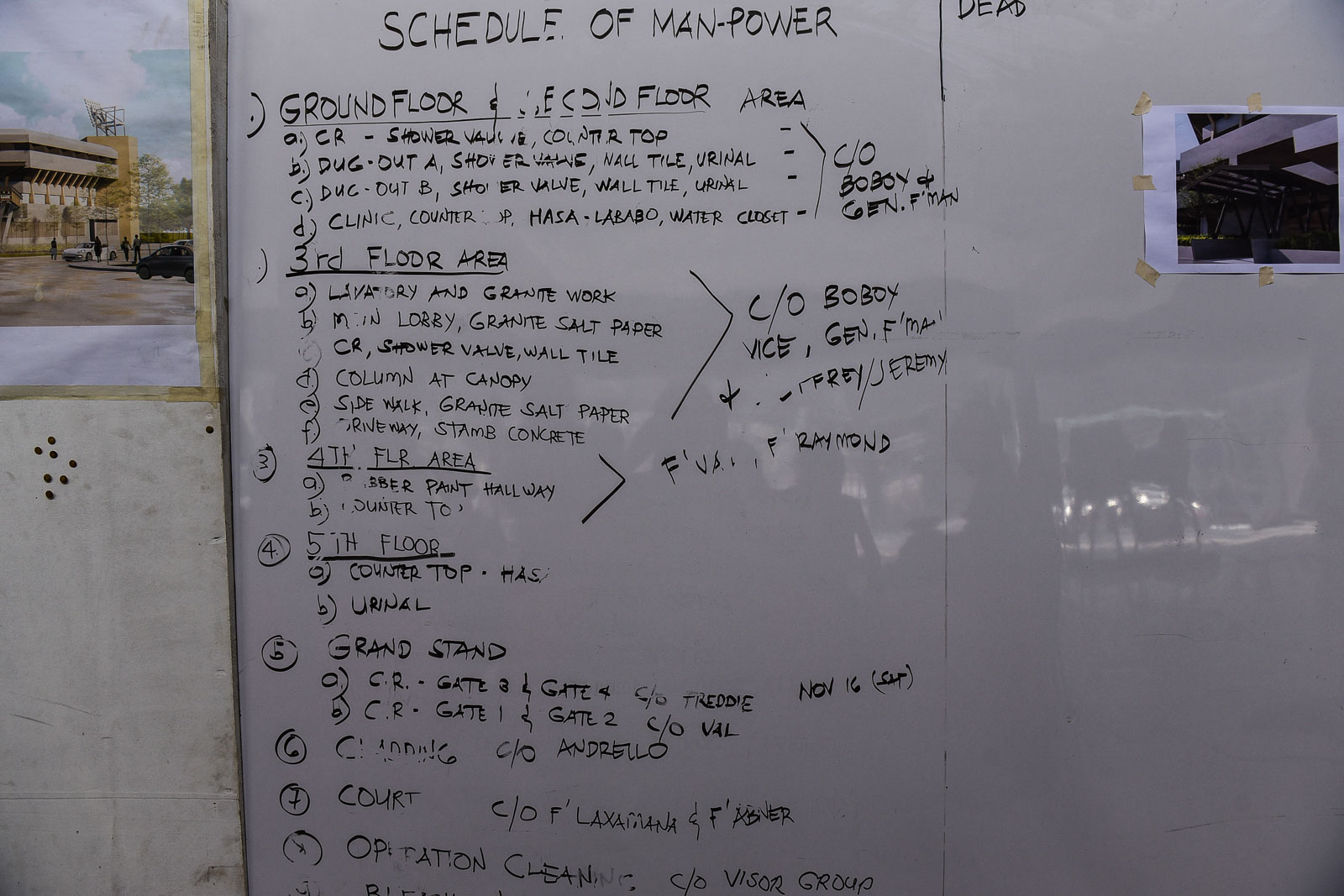 ROUND THE CLOCK. The white board lists all the work that needs to be done in a weeks's time. Photo by LeAnne Jazul/Rappler