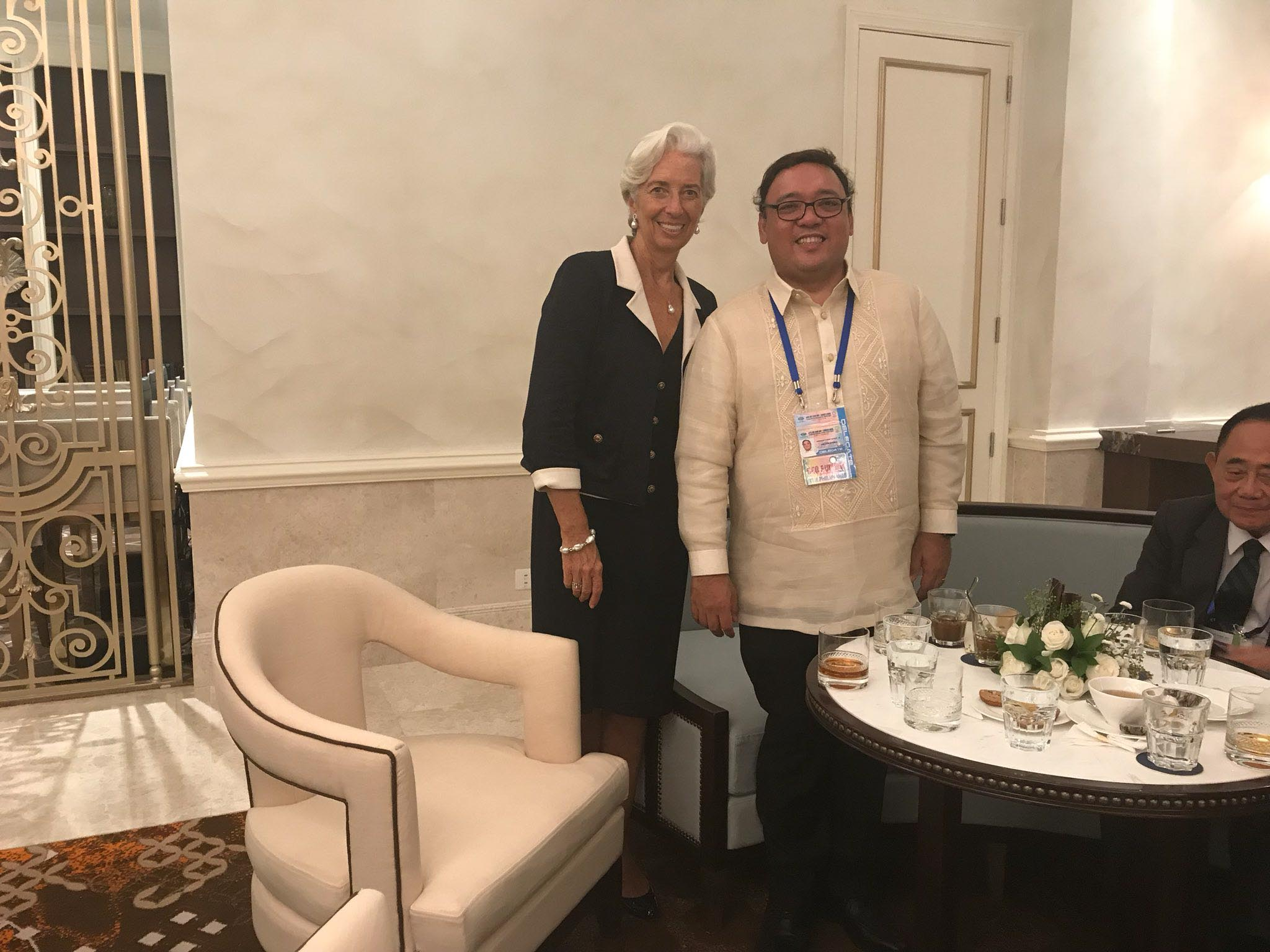 IMF HEAD. Presidential Spokesperson Harry Roque poses with IMF Managing Director Christine Lagarde.