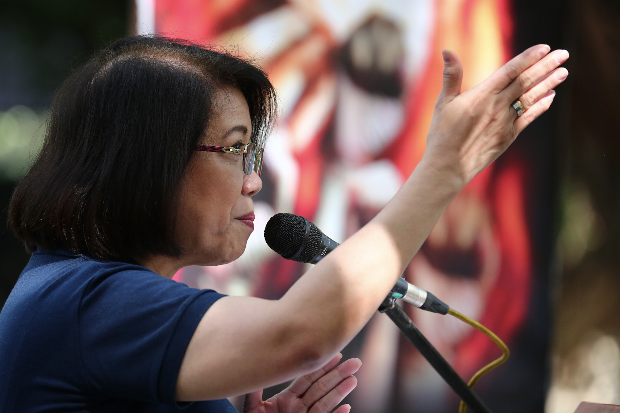 UNITED PEOPLE POWER. Former chief justice Maria Lourdes Sereno speaks before left-leaning groups in what is dubbed as the 'United People Power' rally, separate from the rally of the Liberal Party-led opposition groups. Photo by Jire Carreon/Rappler
