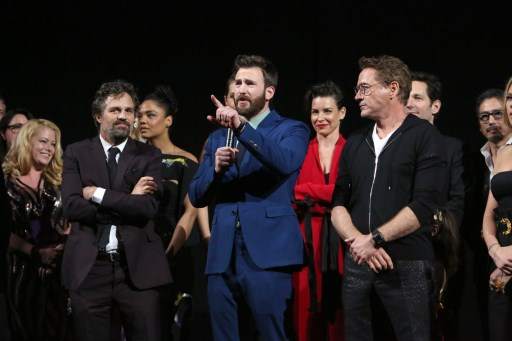 LA WORLD PREMIERE. Mark Ruffalo, Chris Evans, and Robert Downey Jr. speak onstage during the Los Angeles World Premiere of Marvel Studios' u0022Avengers: Endgameu0022 at the Los Angeles Convention Center on April 23, 2019 in Los Angeles, California. Photo by Jesse Grant/Getty Images for Disney/AFP