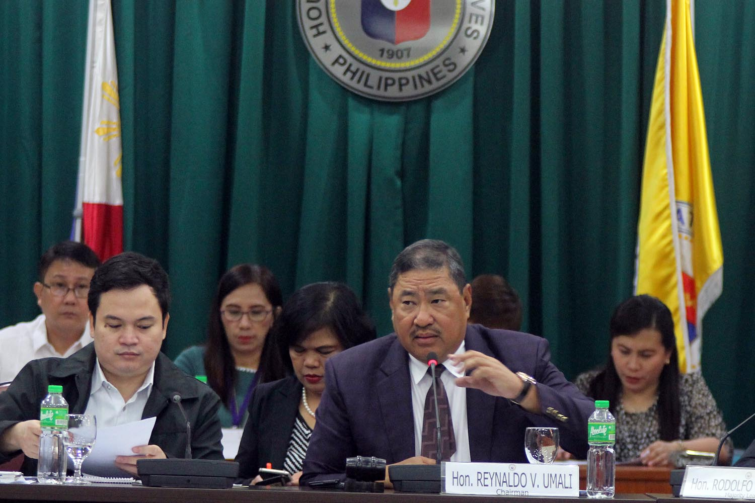 SERENO IMPEACHMENT HEARING. Mindoro Oriental 2nd District Representative Reynaldo Umali, chair of the House committee on justice, presides the hearing on the determination of probable cause in the impeachment complaint against Chief Justice Maria Lourdes Sereno on November 22, 2017. Photo by Darren Langit/Rappler