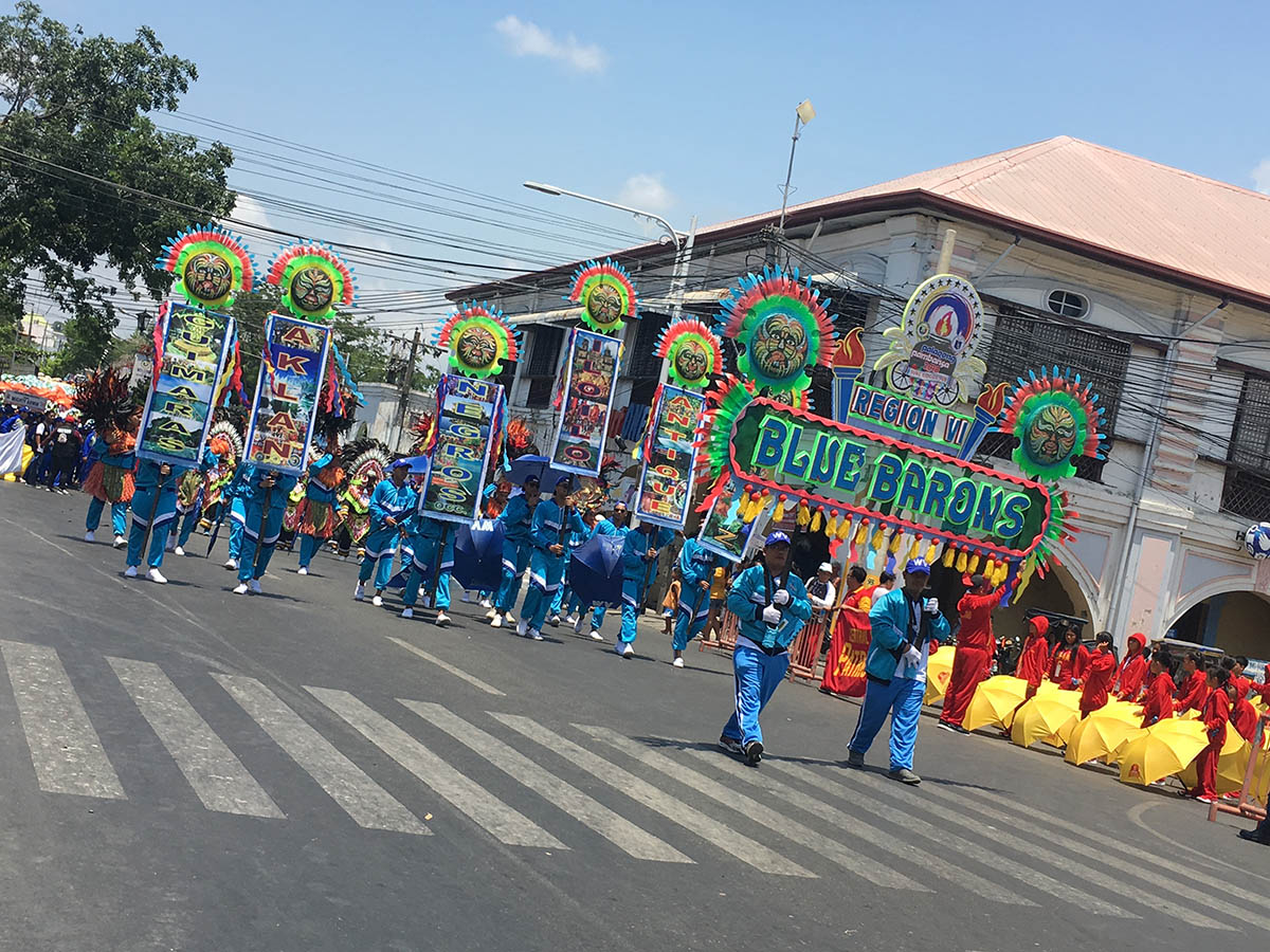 FIESTA. The Blue Barons from Western Visayas lead the parade with their ala-fiesta props