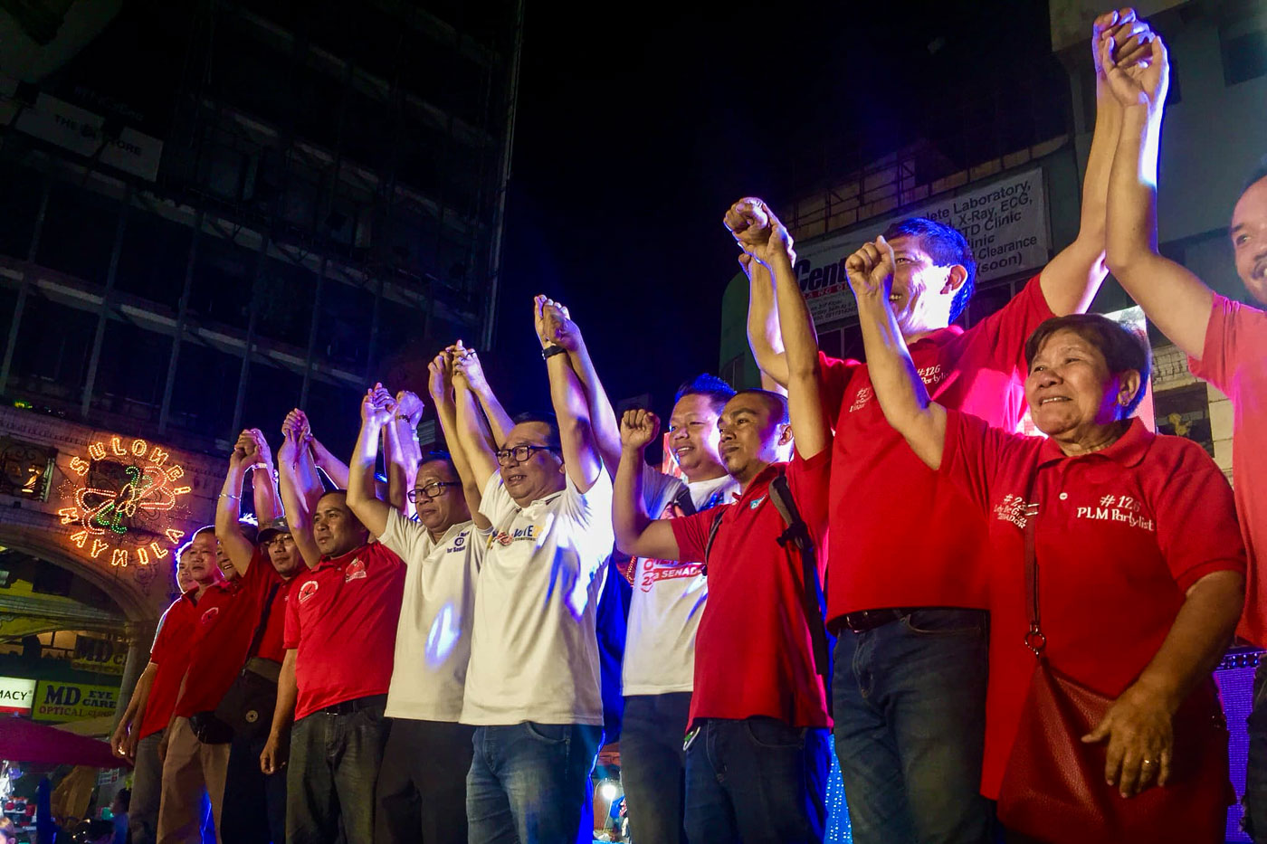 CAMPAIGN. Five labor leaders running for Senate seat in the upcoming May 2019 midterm elections, collectively known as the Labor Win, gather in Plaza Miranda for a proclamation rally on February 14, 2019. Photo courtesy of Defend Job PH
