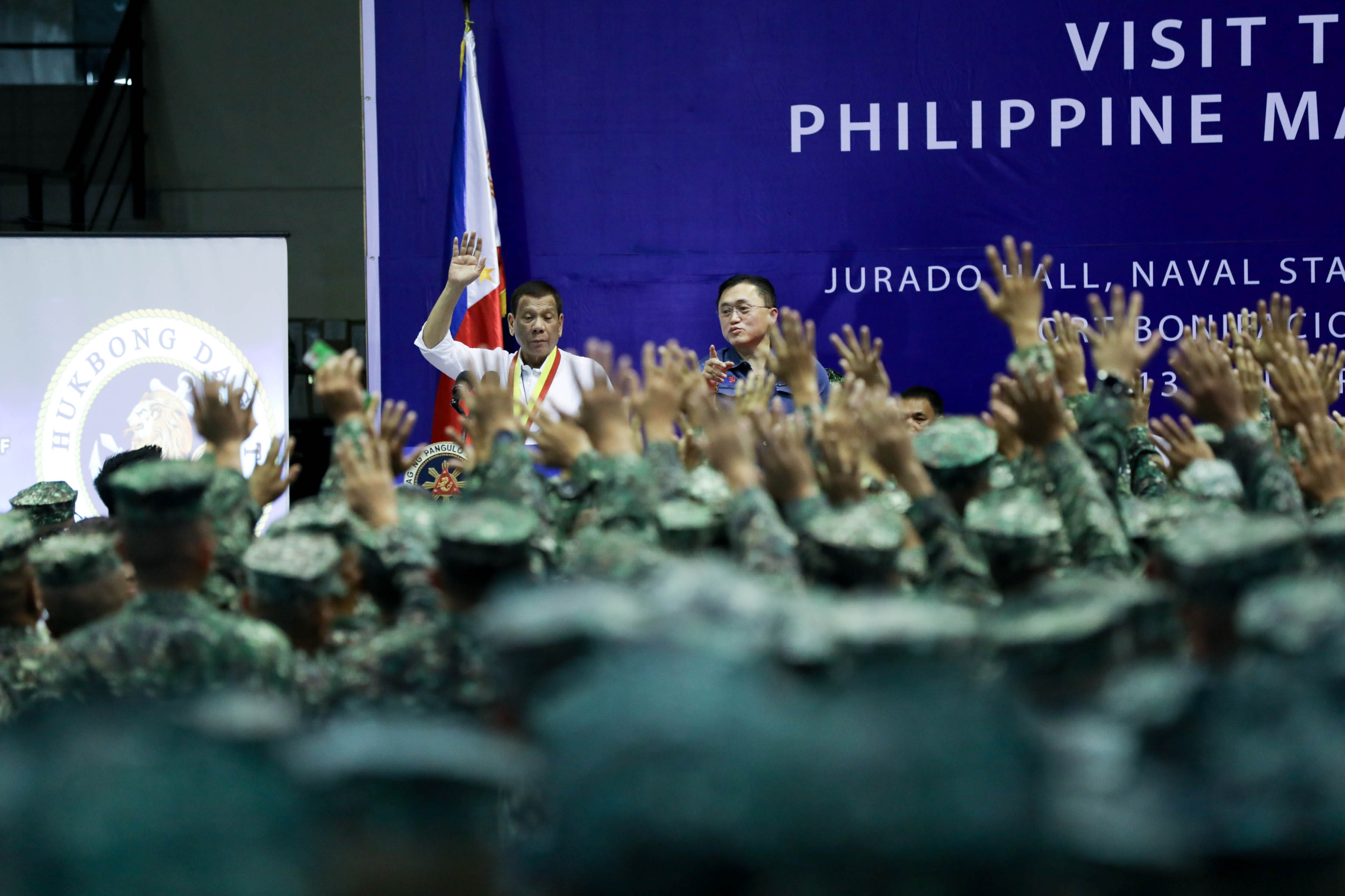 PH SOLDIERS. President Rodrigo Duterte delivers a speech during his visit to the Philippine Marine Corps headquarters at Fort Bonifacio in Taguig City on January 13, 2020. Malacau00f1ang photo