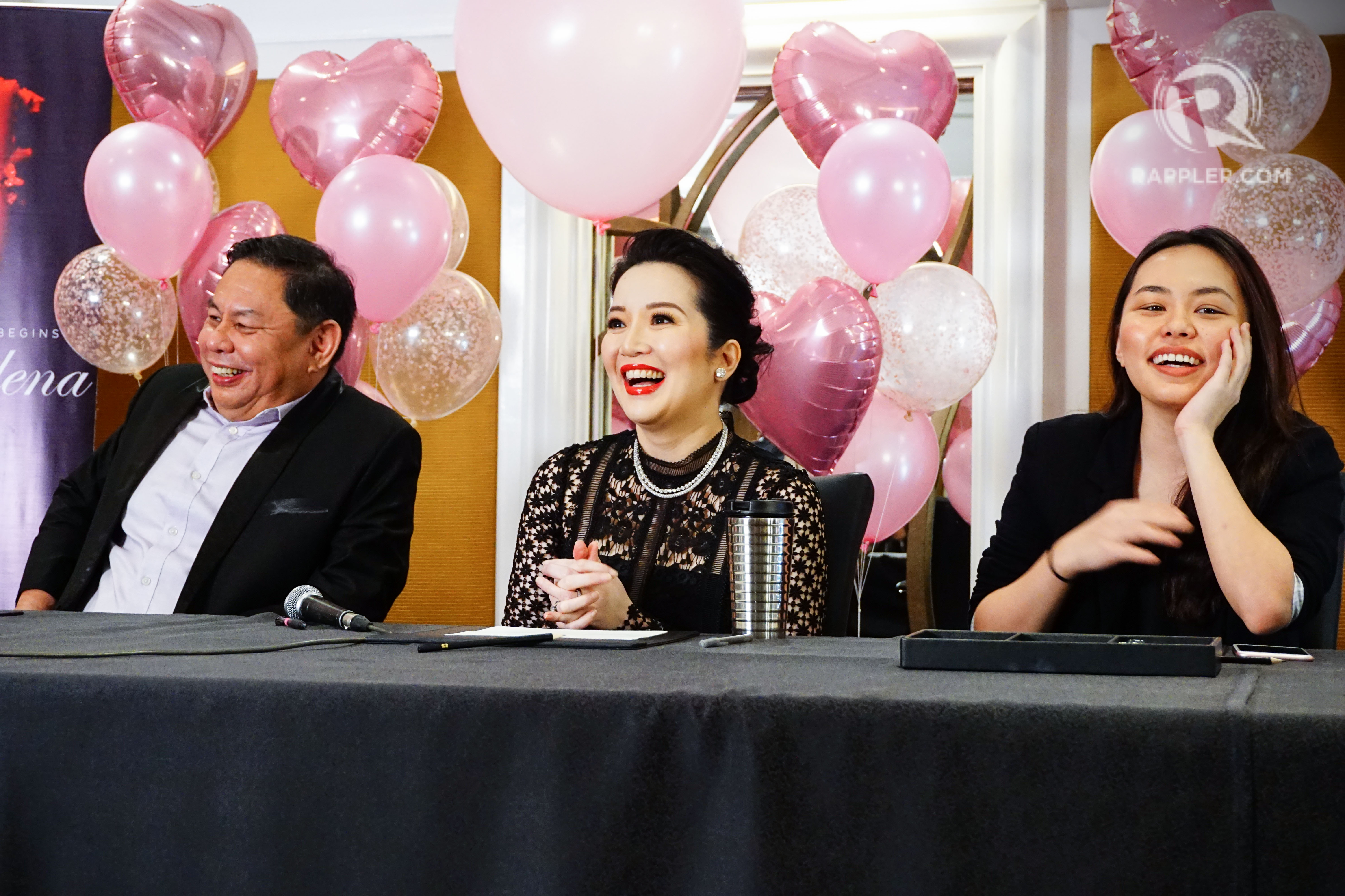HAPPY MOMENTS. Kris Aquino speaks to the press at her contract signing with Ever Bilena. From left to right: Ever Bilena CEO Dioceldo Sy, Kris Aquino, Ever Bilena key accounts manager Denice Sy. Photo by Vernise L. Tantuco/Rappler