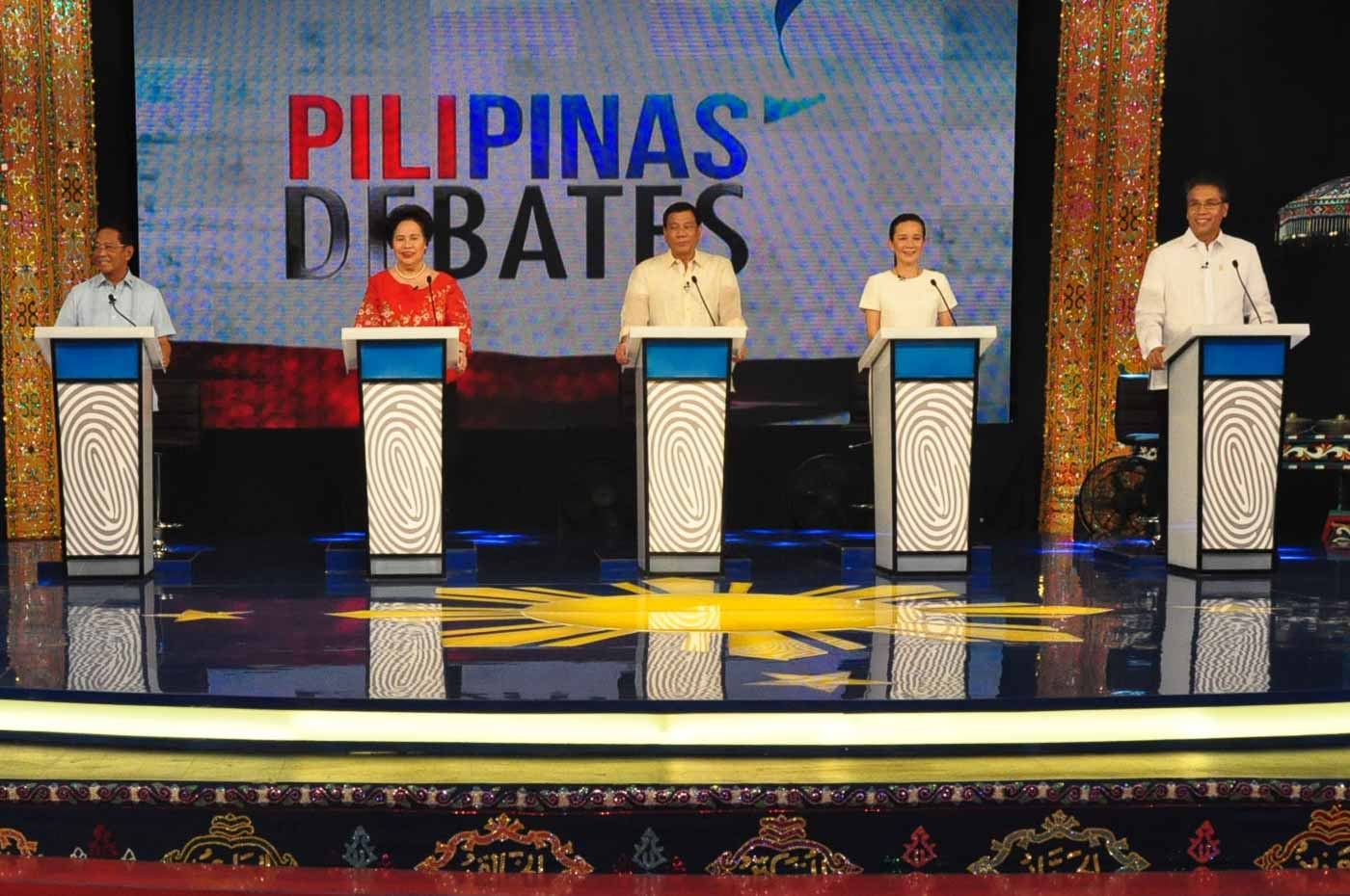 WHO'S GOOD FOR BUSINESS? The 5 presidential candidates. File photo courtesy of Comelec