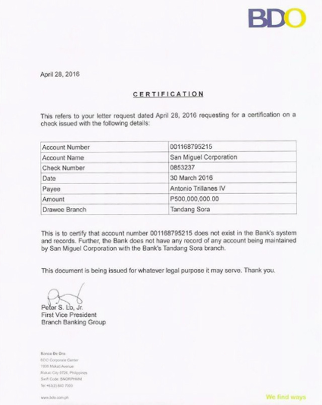 NO RECORDS. BDO certifies the non-existence of a bank account under San Miguel Corporation in the bank's Tandang Sora branch. Photo from Senator Trillanes's Instagram account