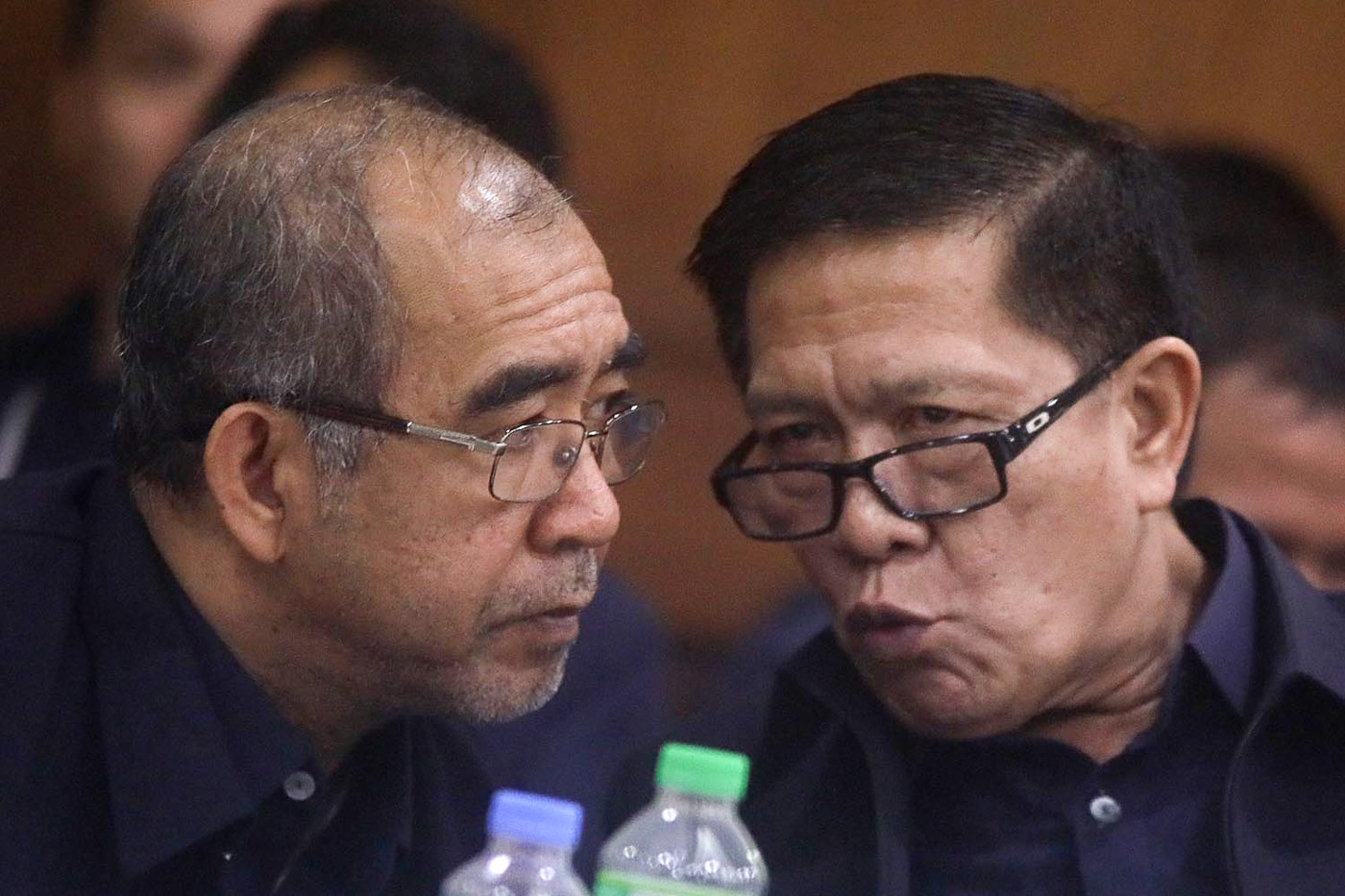 GRILLED. PDEA deputy chiefs Ruel Lasala (L) and Ismael Fajardo (R) at the House probe into the alleged P6.8-billion shabu smuggled through Customs. Photo by Darren Langit/Rappler