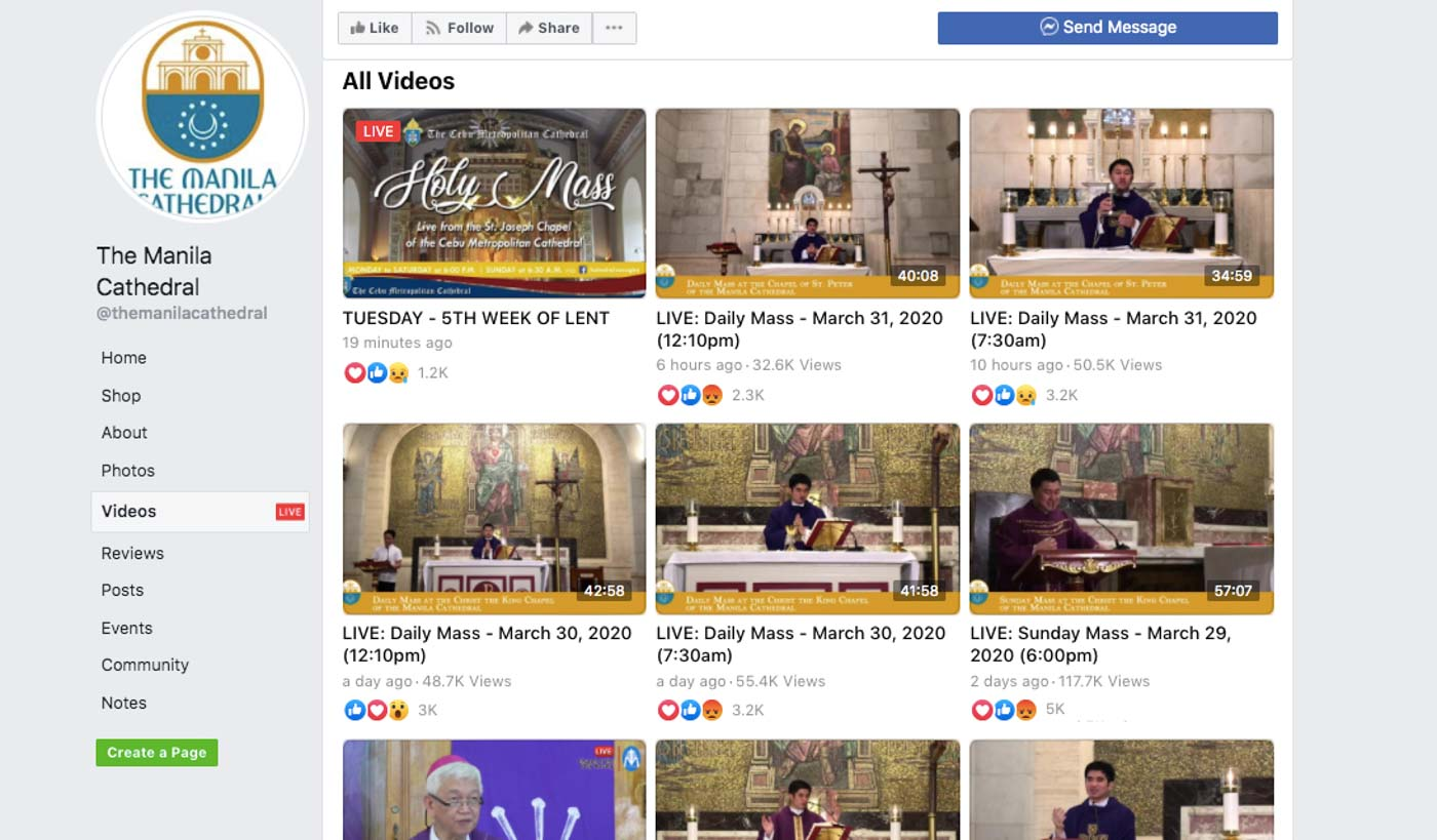 MANILA CATHEDRAL. The cathedral livestreams its masses on Facebook. Screenshot from FB Page