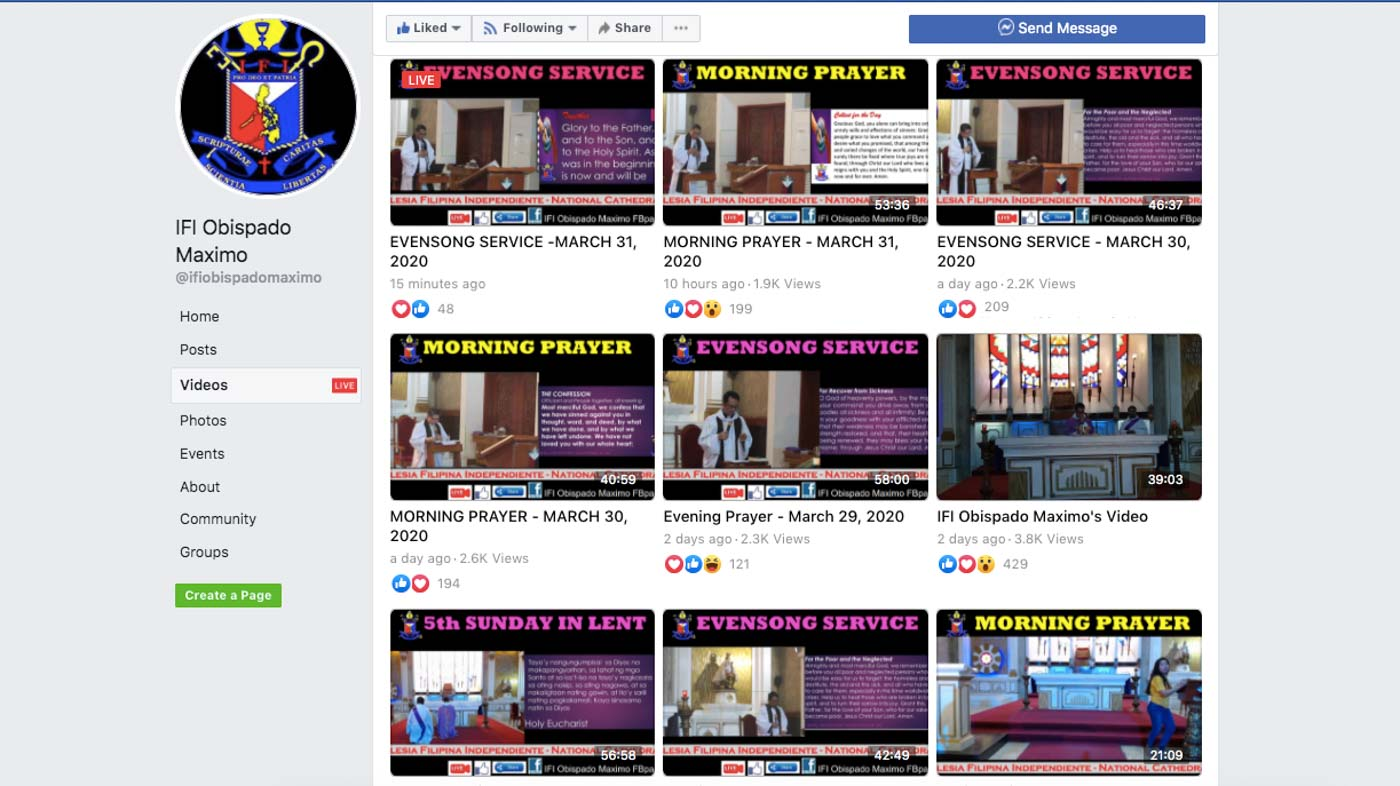 DAILY PRAYERS. The Aglipay Church uses Facebook to reach its members around the country. Screenshot from IFI Opisbado Maximo page