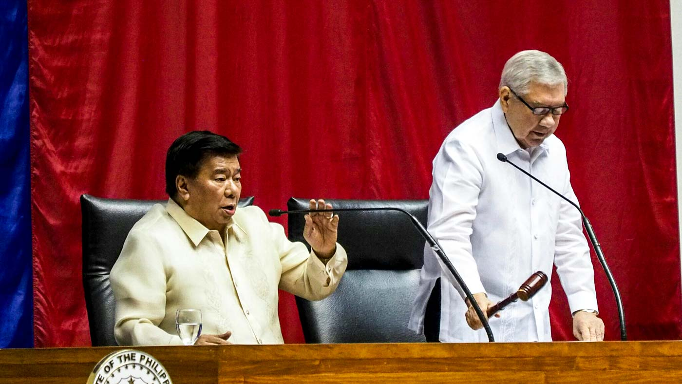 HOUSE LEADERS. Senate Presdient Franklin Drilon and House Speaker Feliciano Belmonte presides the Congress' joint public session on setting up the rules on official canvassing. Photo by Jasmin Dulay/Rappler