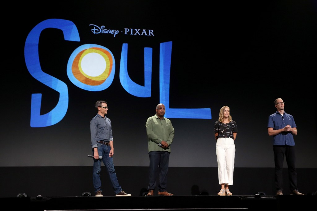 SOUL. Writer Mike Jones, Co-Director Kemp Powers, Producer Dana Leigh Murray and Director Pete Docter of 'Soul' at the Walt Disney Studios presentation at Disneys D23 EXPO 2019. 'Soul' will be released in the US on June 19, 2020. Photo by Jesse Grant/Getty Images for Disney/AFP