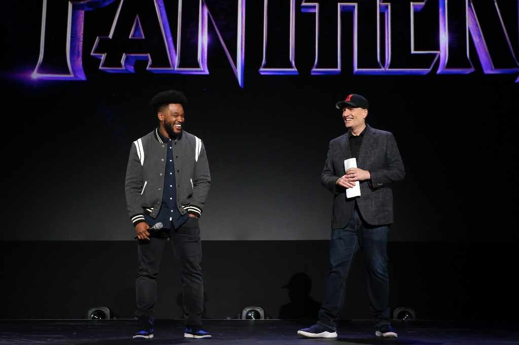 BACK. Ryan Coogler of 'Black Panther 2' and President of Marvel Studios Kevin during the the Walt Disney Studios presentation at Disneys D23 EXPO 2019 in Anaheim, California. Photo by Jesse Grant/Getty Images for Disney/AFP