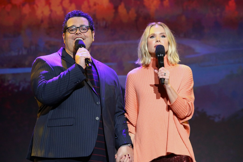 FROZEN 2. Josh Gad and Kristen Bell of 'Frozen 2' take part in the D23 Expo to talk about 'Frozen 2.' The movie hits theaters on November 22, 2019. Photo by Jesse Grant/Getty Images for Disney/AFP