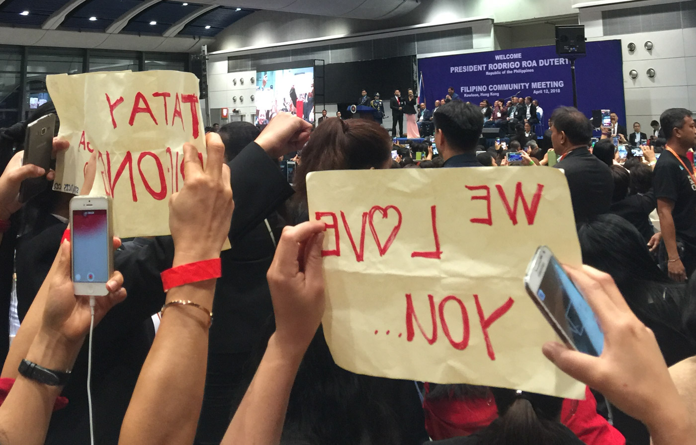 SUPPORTERS. Duterte fans show up in Hongkong in April 2018. Photo by Jayeel Serrano Cornelio