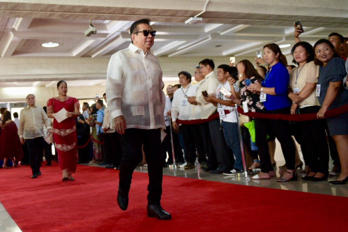 Chavit Singson arrives at the Batasang Pambansa. Photo by Leanne Jazul/Rappler