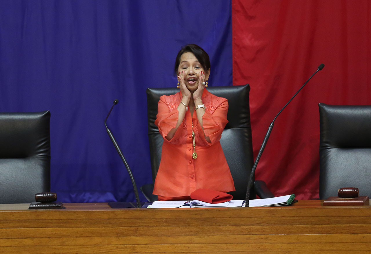 NEW SPEAKER. Pampanga Representative Gloria Macapagal Arroyo after taking her oath as Speaker of the House of Representatives Monday afternoon, July 23, 2018. Photo by Mary Grace dela Serna/Rappler