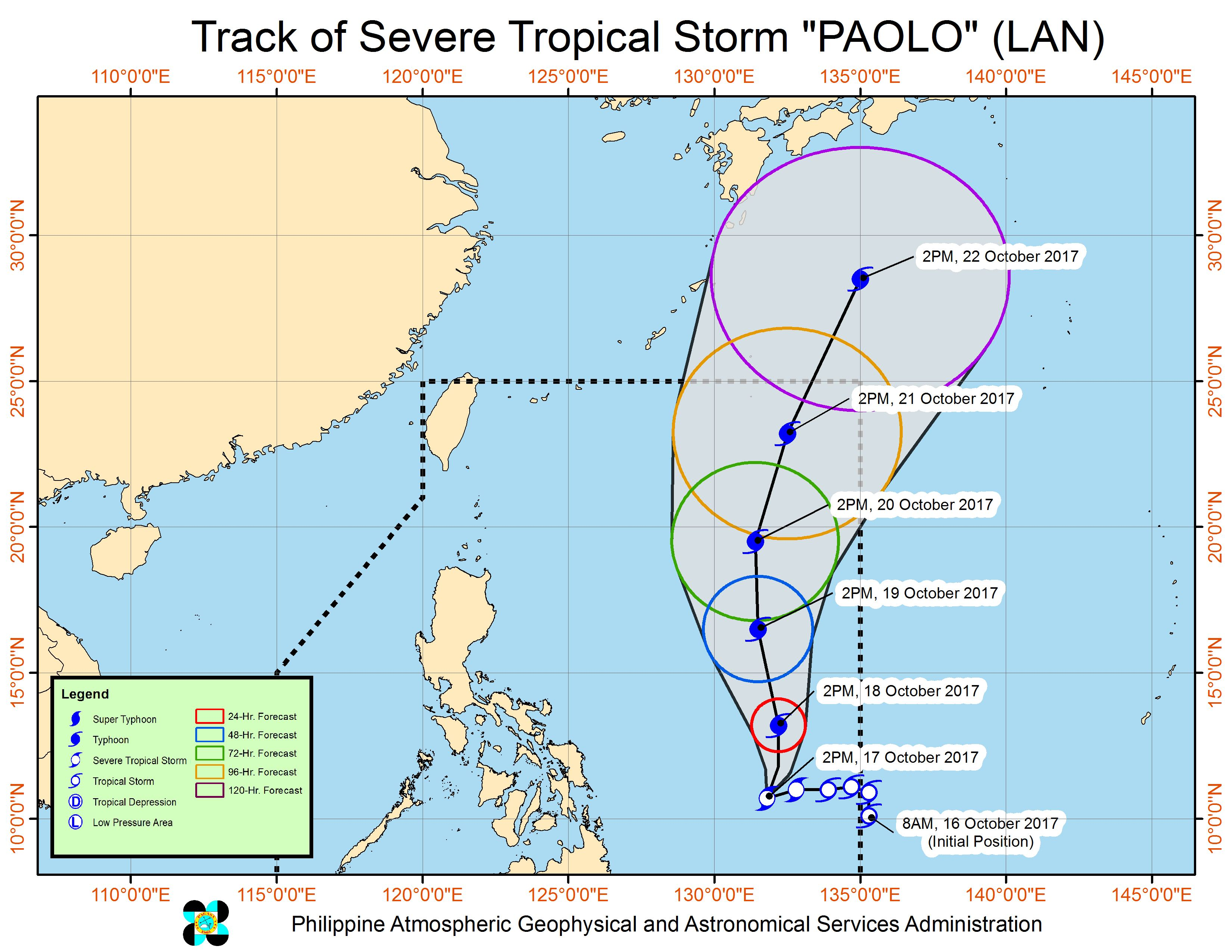 Forecast track of Severe Tropical Storm Paolo as of October 17, 5 pm. Image courtesy of PAGASA