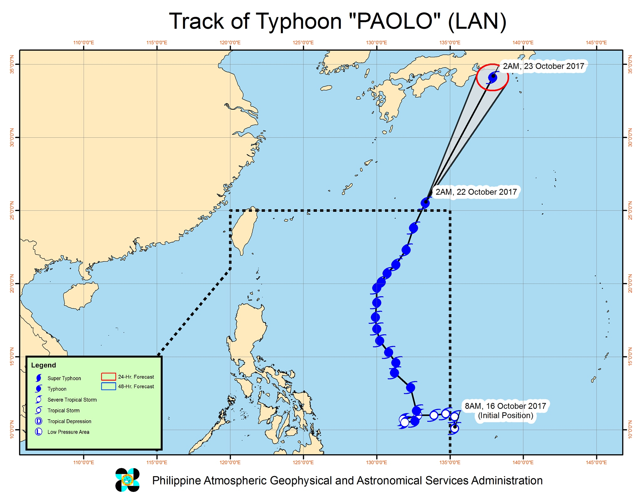 Forecast track of Typhoon Paolo as of October 22, 5 am. Image courtesy of PAGASA