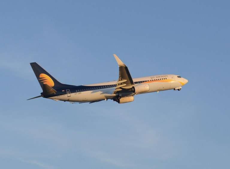 JET AIRWAYS. A Jet Airways flight takes off from Sardar Vallabhbhai Patel International Air Port in Ahmedabad on March 18, 2015. File photo by Sam Panthaky/AFP