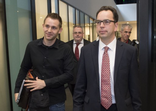 MAX SCHREMS. Austrian Max Schrems (L) arrives with his lawyer Herwig Hofmann (R) before a verdict at the European Court of Justice (SCJ) in Luxembourg, on October 6, 2015. File photo by John Thys/AFP