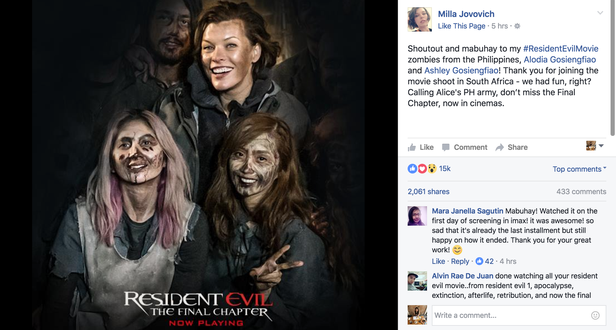 Screengrab from Facebook/MillaJovovich