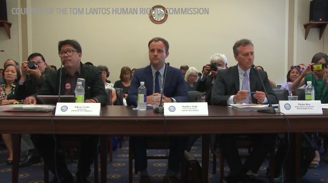DRUG WAR. Tom Lantos Human Rights Commission (TLHRC) of the US Congress conducts a hearing on July 20, 2017, about President Rodrigo Duterte's anti-drug campaign. Screen grab courtesy of TLHRC