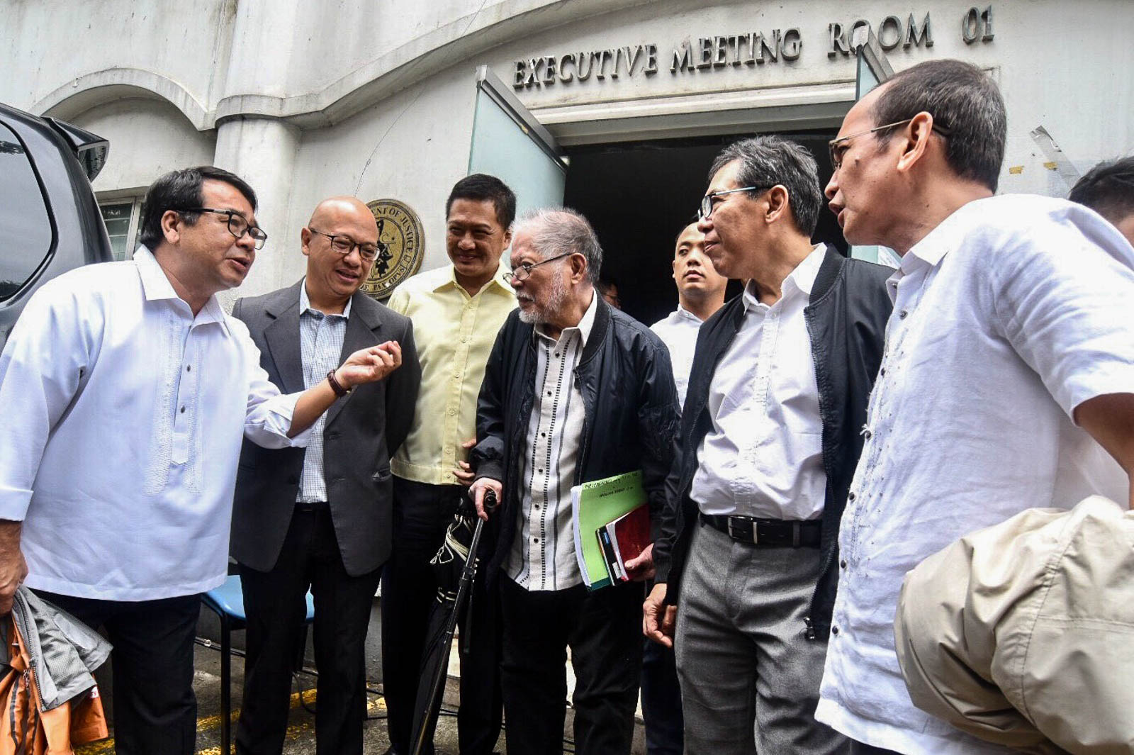 SEDITION COMPLAINT. The country's noted lawyers Neri Colmenares, Florin Hilbay, Erin Tau00f1ada, Rene Saguisag, Chel Diokno, and Edre Olalia are present during the DOJ's first hearing on the inciting to sedition complaint against the opposition on August 9, 2019. Photo by Angie de Silva/Rappler